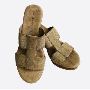 Croft & Barrow ortholite metallic wedge sandals